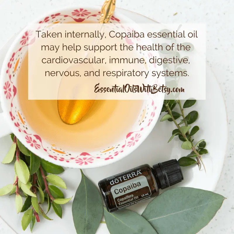Taken internally, Copaiba essential oil may help support the health of the cardiovascular, immune, digestive, nervous, and respiratory systems.
