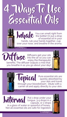 Learn about the four ways to use essential oils. Use essential oils by inhaling them, use essential oils aromatically with a diffuser, use essential oils topically on the skin, use essential oils internally