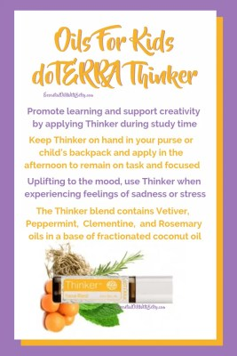 doTERRA kids Thinker essential oil blend | Thinker blend contains Vetiver, Peppermint, Clementine, and Rosemary oils in a base of fractionated coconut oil | Uplifting to the mood, use Thinker when experiencing feelings of sadness or stress | Keep Thinker on hand in your purse or child's backpack and apply in the afternoon to remain on task and focused | Promote learning and support creativity by applying Thinker during study time