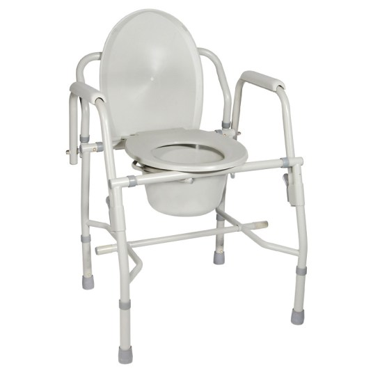 Deluxe Commode With Drop Arm Steel Frame And Lid Back, CASE OF 2