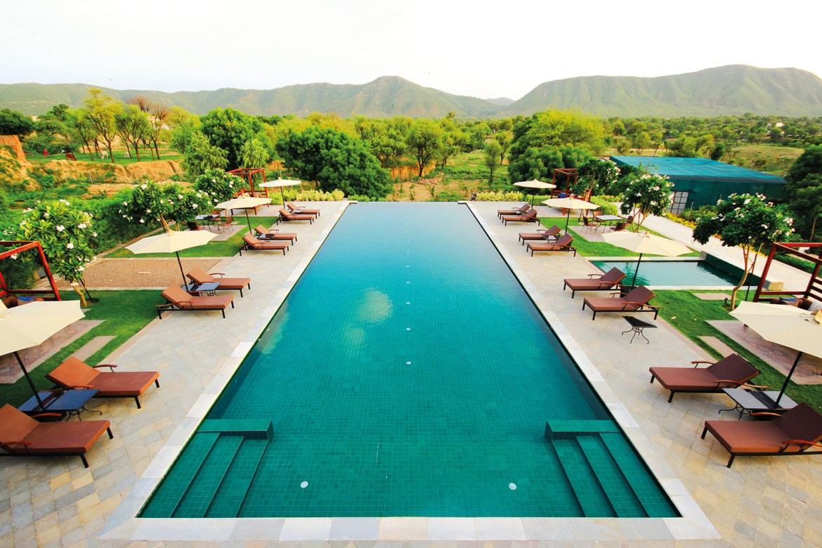 Poolside Haveli restaurant, a welcome respite during the heat of the day