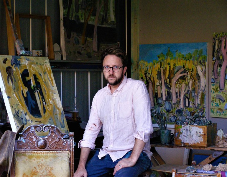 Artist Andy Pye in his Wangaratta Studio