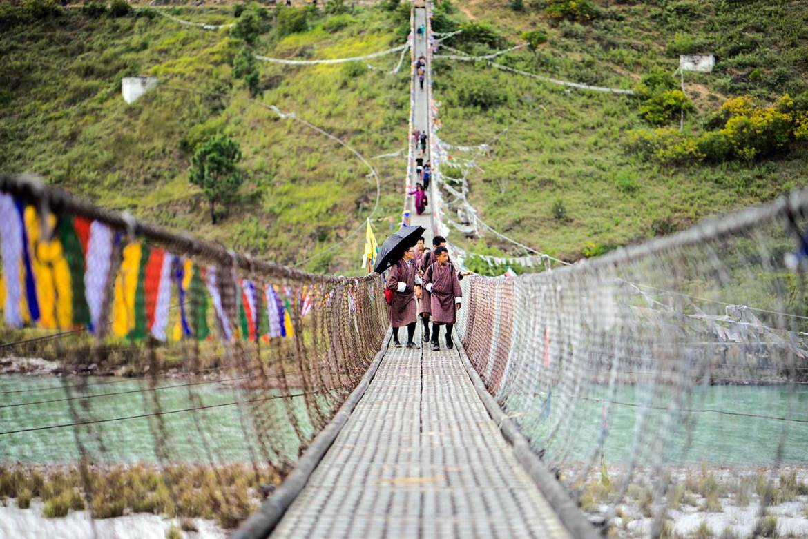 Suspension bridge, Punakha, Bhutan