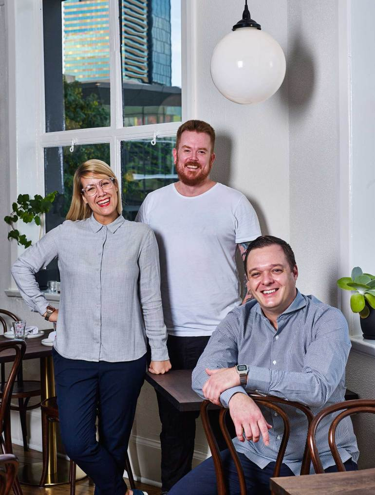 Maeve Wine owners, from left: Eleanor Cappa, Jesse Stevens and