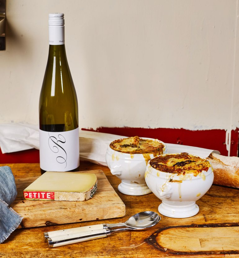 French Onion Soup with Ros Ritchie Pinot Gris