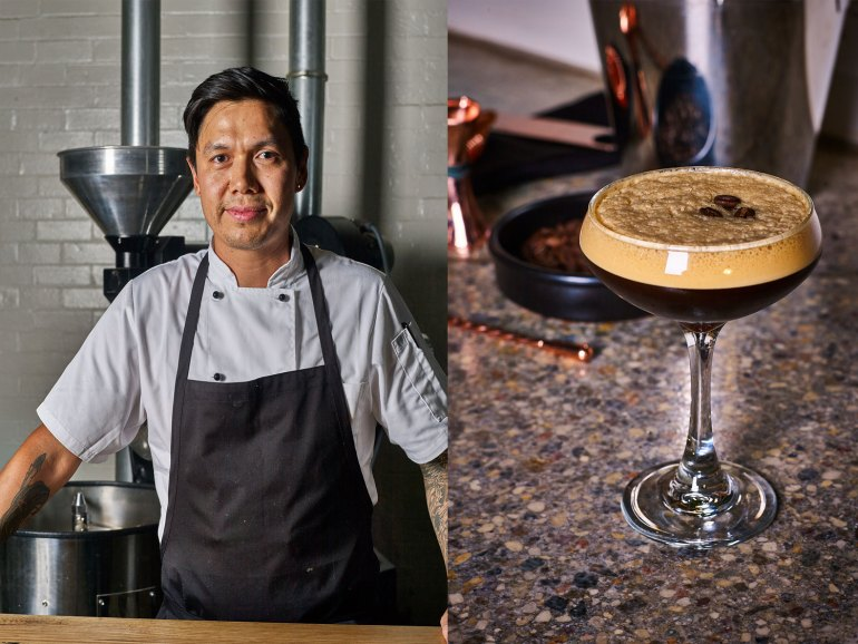 Head Chef Cody Louis; coffee martini made with house roasted coffee