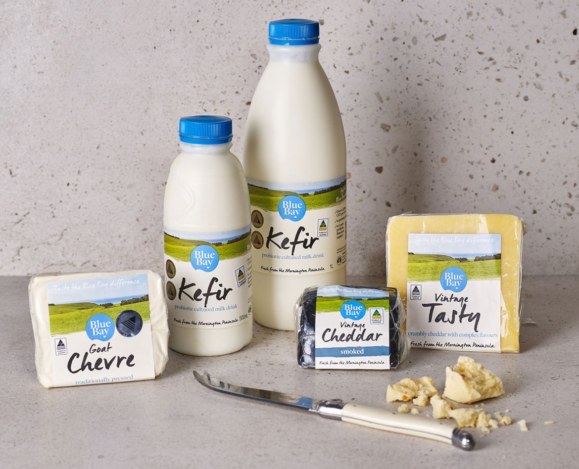Blue Bay products, from left: Goat Chevre, Cow's Milk Kefir, Vintage Cheddar, Vintage Tasty Cheese