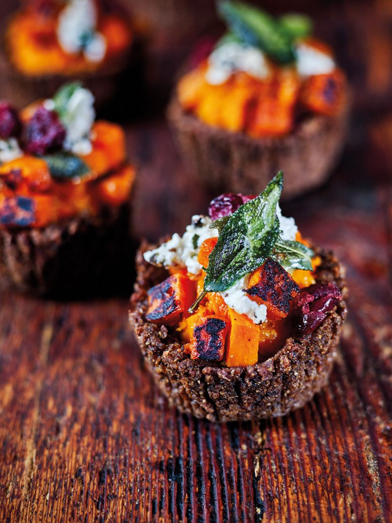 Pumpernickel Pumpkin Tartlets with burnt butter sage, Persian fetta and dried cranberries