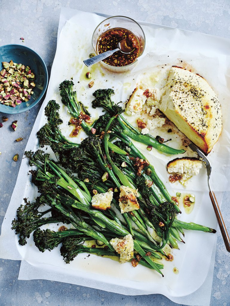 Roasted Broccolini Salad with Baked Ricotta from The Weeknight Cookbook