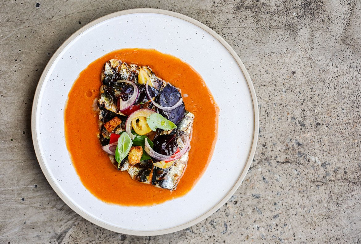 Grilled Sardines with Gazpacho Salad