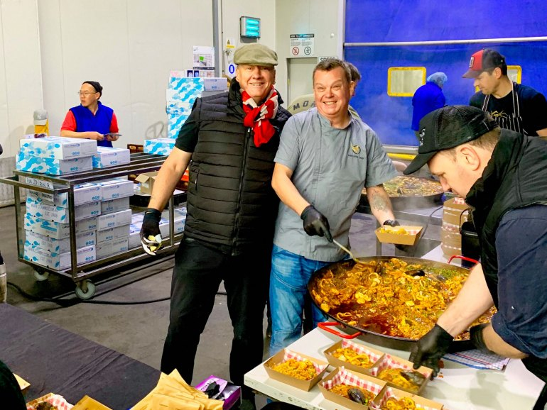 Chef Ian Curley makes hot meals each Saturday at Clamms Seafood as a part of their Help Hospo programme offers free boxes of seafood to hospitality workers who have lost their jobs and have been impacted by Covid-19.