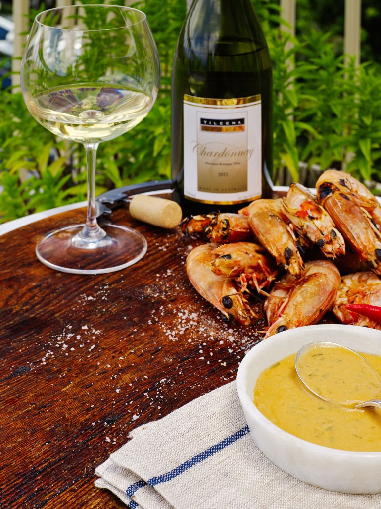 Seared prawns with Yileena Park Chardonnay