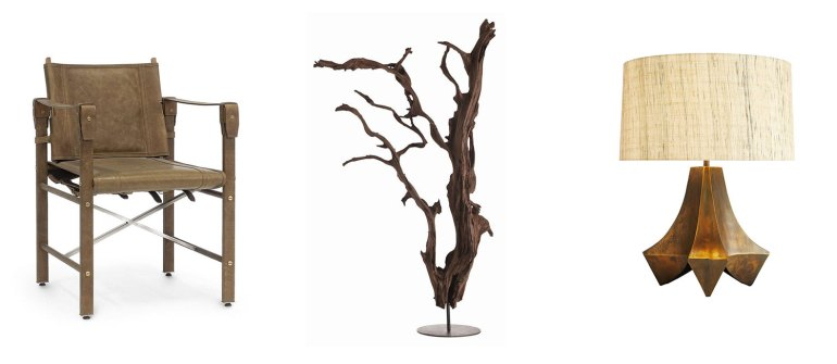 Expedition Arm Chair, Kazu Floor Sculpture, Stelling Lamp - Natural Wonders Collection