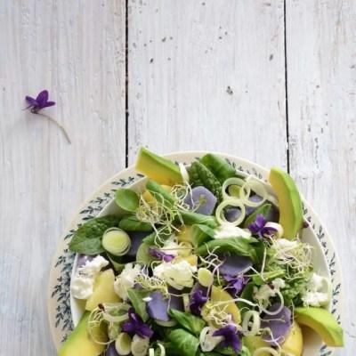 Insalata di avocado e patate viola con songino e germogli