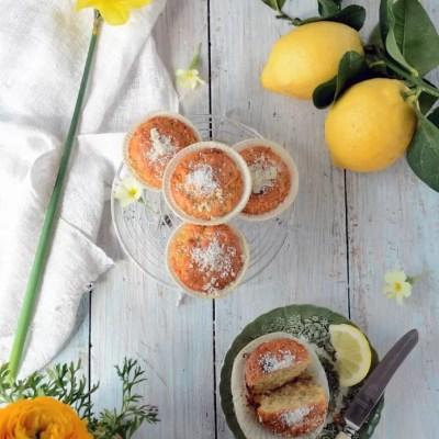 Muffins al limone con cocco e cioccolato bianco