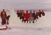 A closer look at snow-Champy's face and his creators. (Credit: William Morgan)