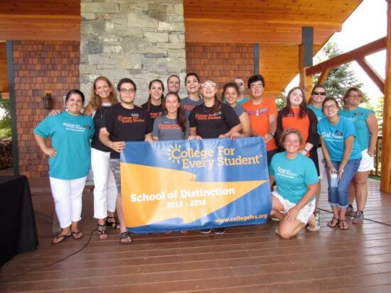 CFES Scholars from Crown Point Central School during a presentation at Camp Dudley in Westport, NY