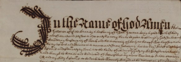 A particularly ornate opening to a will belonging to John Gardener of Little Bromley (D/ACW 25/18)
