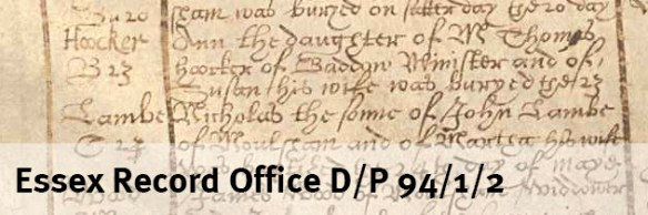 Ann Hooker burial Chelmsford 1626