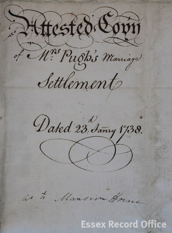 The marriage settlement of Benjamin Pugh and Amy Walls in which 26 High Street is referred to as the 'mansion house'. (D/DU 755/45)