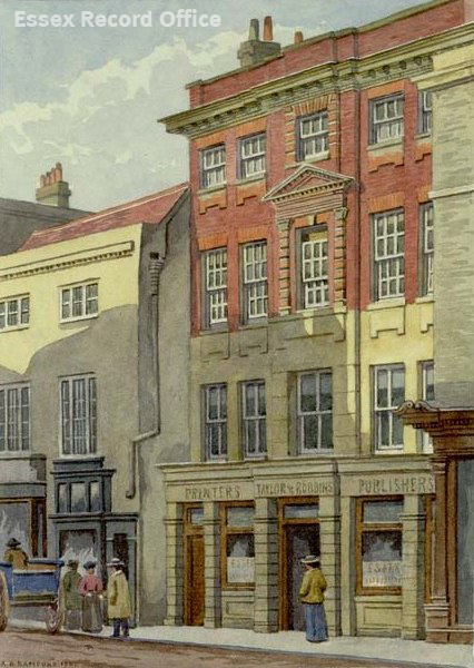 Watercolour by A.B. Bamford of 26 High Street in 1906. Occupied by Essex Weekly News. (I/Ba 14/22)