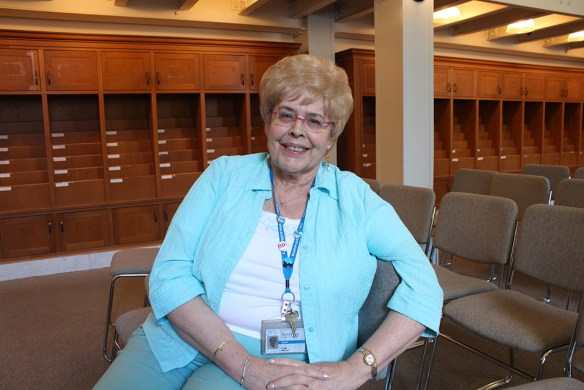 Linda MacIver at Boston Public Library during Neil and Allyson's visit last summer