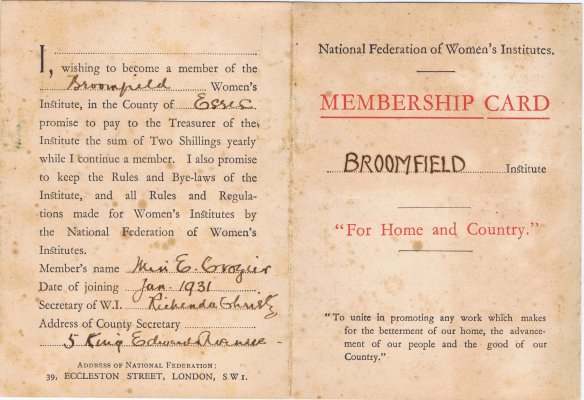 Broomfield WI Membership Card Ethel Crozier 1931 1 crop