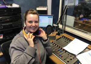 Presenter Alice Ryan in studio at Southend Hospital Radio