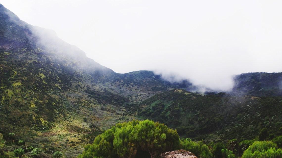Fog around Mount Kenya