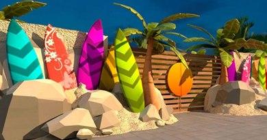 Escolas de surfe com painéis artísticos são as novidades da orla de Praia Grande