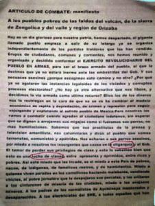 Panfleto que circula en algunas zonas de Veracruz. Foto: Especial