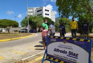 El gobernador Alfredo Díaz inspeccionó los trabajos de desmalezado en la avenida Simón Bolívar de La Asunción