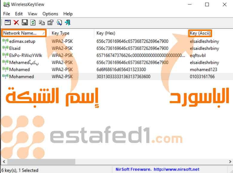 معرفة كلمات مرور WiFi المحفوظة على جهازك WirelessKeyView