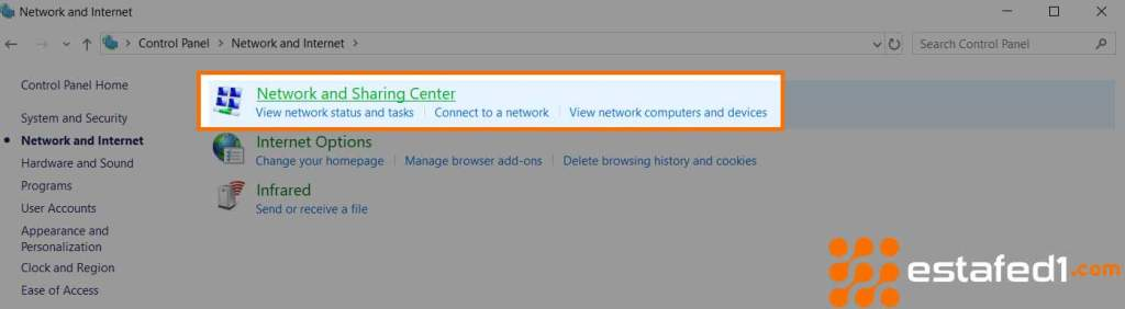 network and sharing center in control panel
