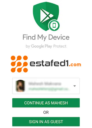 تسجيل الدخول الى تطبيق العثور على جهازي find my device