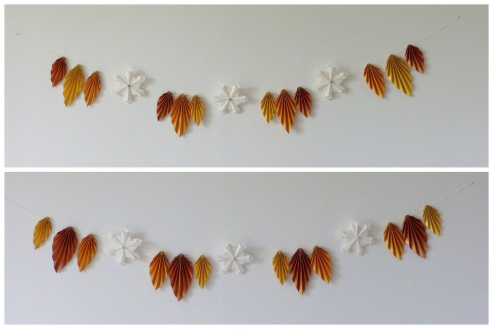 Guirlande de Noël feuilles d'automne et flocons de neige