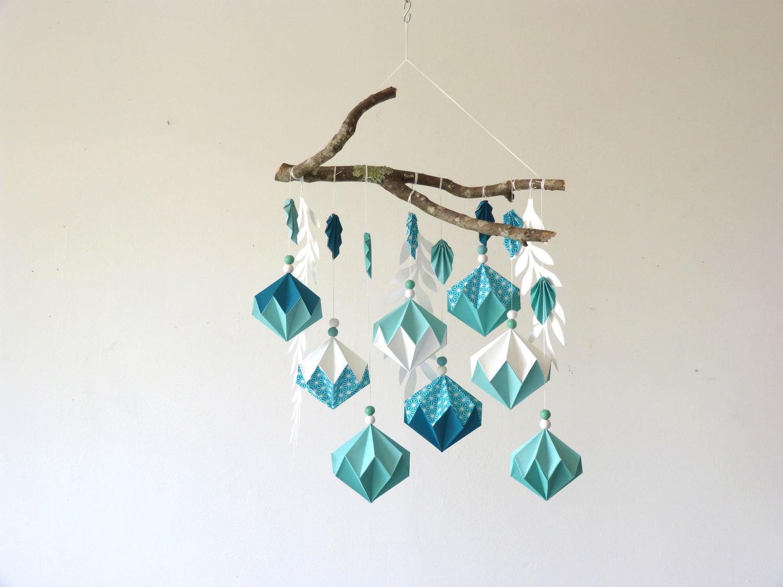 Petite suspension de diamants mint et turquoise