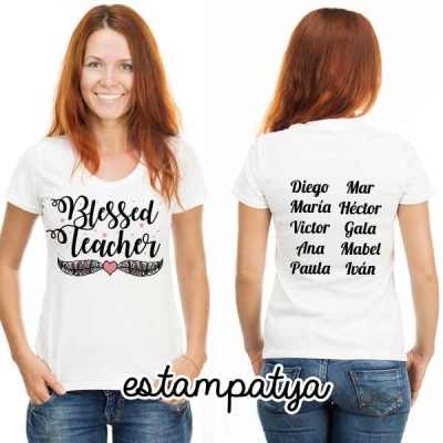 camiseta profe blessed teacher