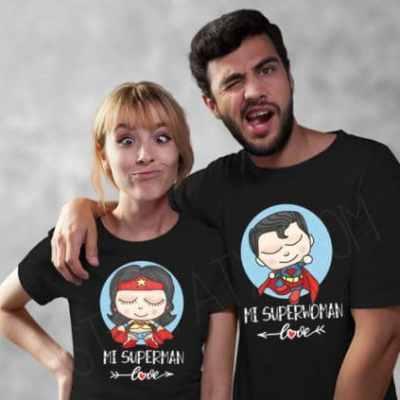 Camisetas San Valentín mi superman, mi superwoman