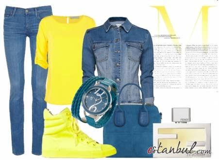 Sarı-Ayakkabı-Sarı-Tshirtlü-Mavi-Kot-Pantolonlu-Günlük-Rahat-Kombin
