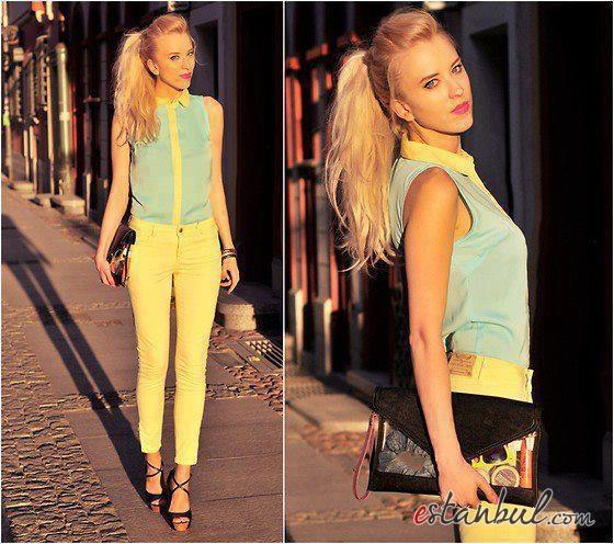 sarı-pantolon-kombini