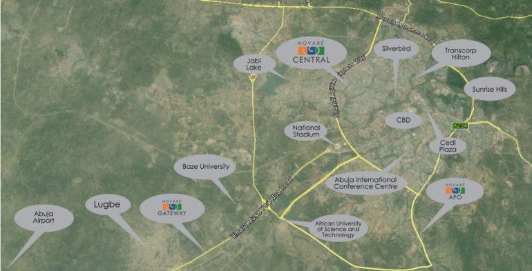 Location of Novare Central Office Park, Wuse - Abuja. Image Source: Novare.