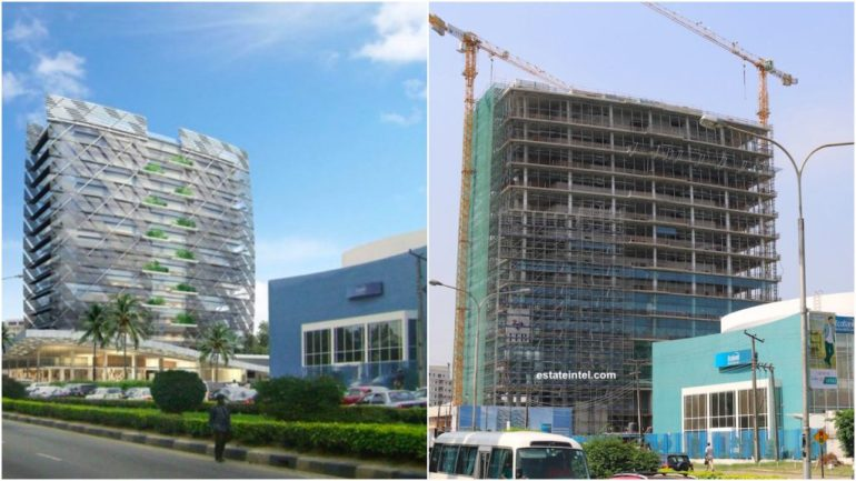 Kingsway Tower. Computer Generated Image vs Completed/Current Status. Image Source: Omololu Ibhahulu.