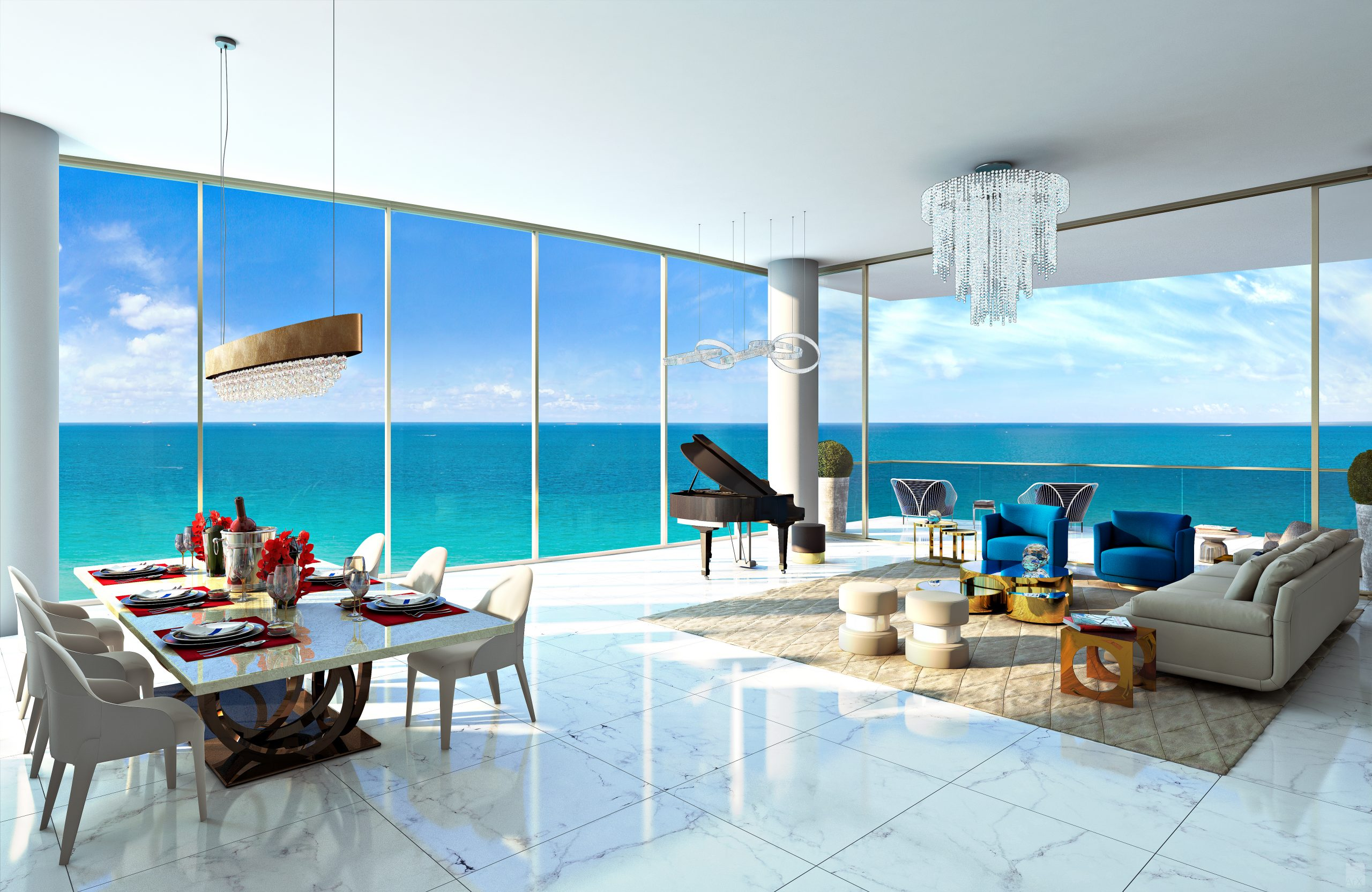 Toscana Living Room with Ocean View