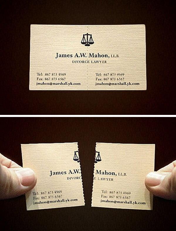 Un abogado canadiense especializado en divorcios. Su tarjeta de visita lo dice todo.