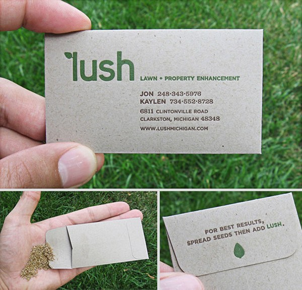 La business card incluye semillas que puedes plantar.