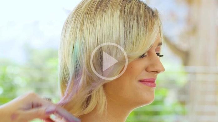 Video Alert! How-To: Flower Hair Stencil Art Masterpiece – InstaTint Temporary Shimmer Spray Hairstyle
