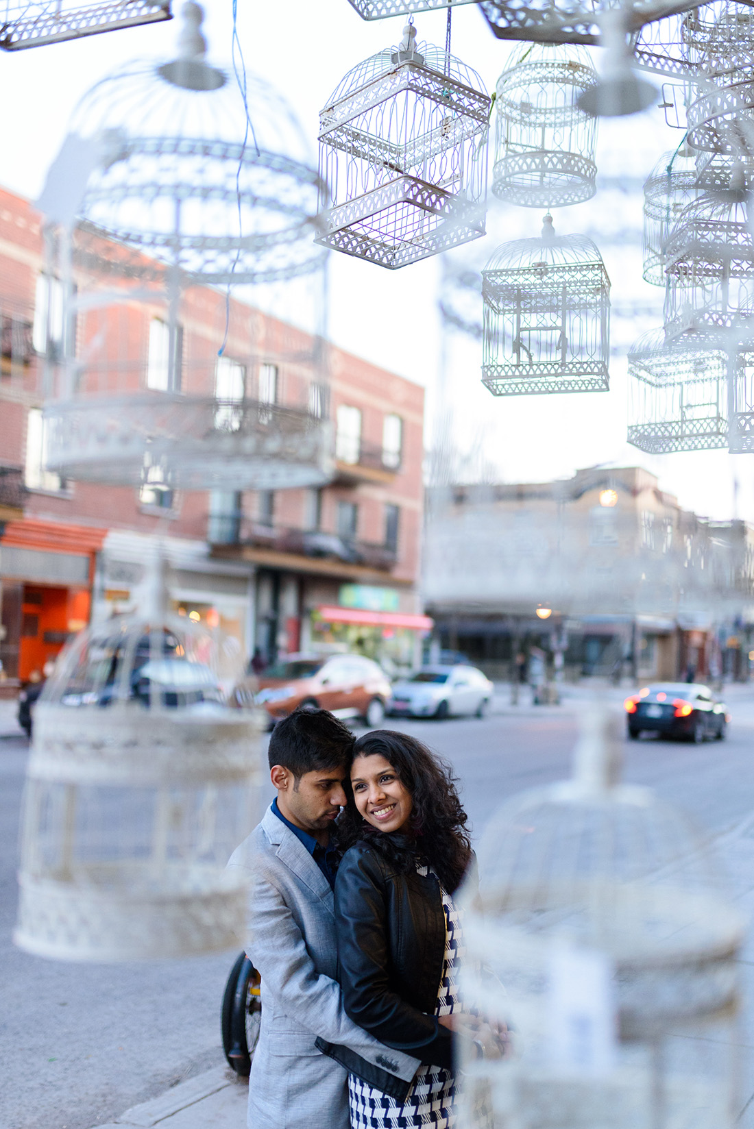 Engagement photo at Dragon Flowers in Montreal