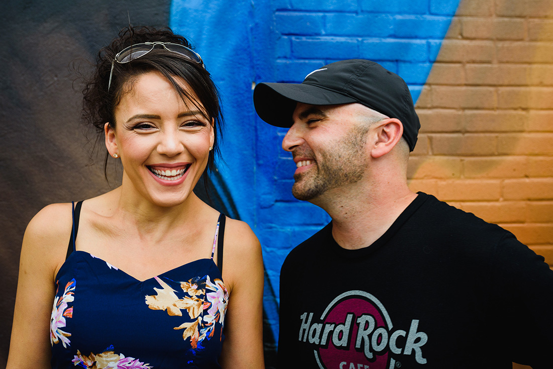 Happy engaged couple in Montreal