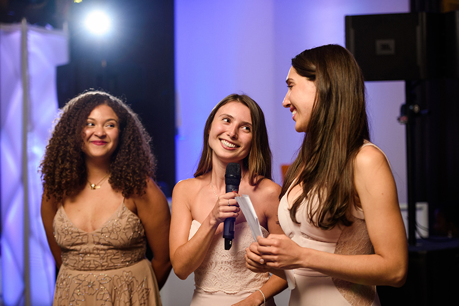 Bridesmaids giving speech at Intercontinental hotel wedding, Montreal
